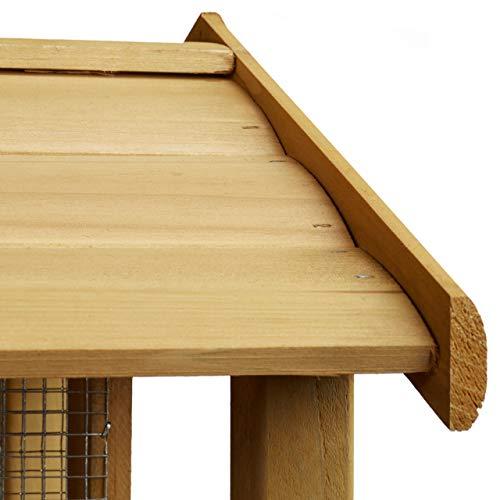 Relaxdays Vogelhaus mit Ständer, Aus Holz, Unbehandelt, Stehend, Vogelfutterhaus Bausatz, HBT: 117 x 50 x 50 cm, braun - 4