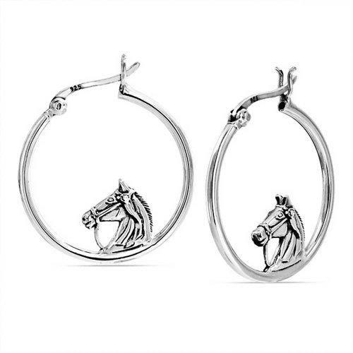 Don equino ecuestre Caballos Cowgirl Hoop Pendientes para las mujeres Teen 925 Sterling Silver 1 dia