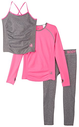 Body Glove Girls 3 Piece Athletic Tank Top, Long Sleeve Shirt and Leggings Set, Heather Pink, 6/6X