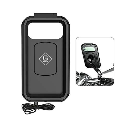 不适用 Soporte de teléfono de coche inalámbrico 15 W Qi/tipo C PD cargador impermeable motocicleta teléfono titular caja