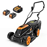 TECCPO 40V Cordless Lawn Mower, 15'' Brushless Lawn Mower with 4.0 Ah&2.5 Ah Batteries, 6 Mowing Heights, 10.6 Gal Grass Box, 3 Operation Heights, Charger Included - TDLM4065A