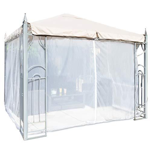 FREILUFTRAUM Zanzariera a forma di cassetta, per gazebo, terrazze, locome, balconi, in sacchetto per il trasporto (300 x 300 cm, bianco)