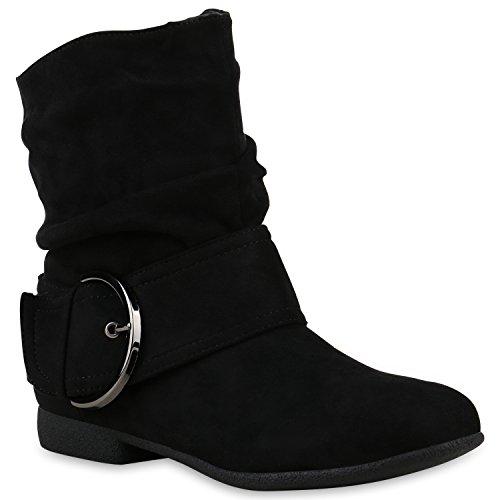 Damen Schlupfstiefel Wildleder-Optik Stiefel Schnallen Boots Stiefeletten Schuhe 122406 Schwarz 37 Flandell
