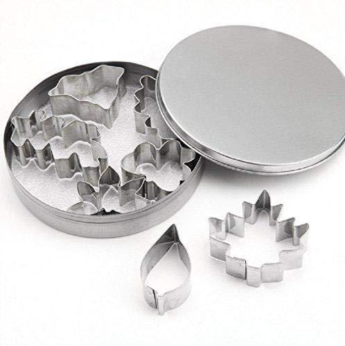 Jeffyo 7-TLG. Blätter Ausstechformen Set Edelstahl Fondant Keks Ausstecher Kuchen Plätzchen Ausstecherform mit Box