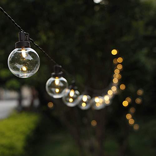 G40 Globen Solar Lichterketten, ZHONGXIN 38.6FT Outdoor Lichterketten wasserdicht mit 50 warm weißen LED-Kunststofflampen, ideal für Home Patio Garten Hinterhof Pavillon Weihnachtshochzeitsfeier Dekor