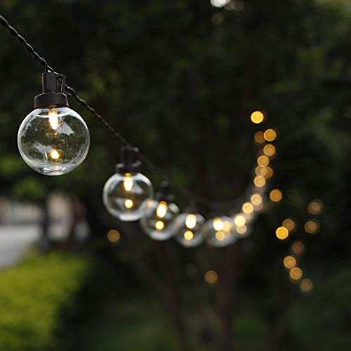 G40 Globe Solar String Lights, ZHONGXIN 38.6FT Outdoor String Lights Waterproof with 50 Warm White LED Plastic Bulbs, Great for Home Patio Garden Backyard Gazebo Christmas Wedding Party Décor