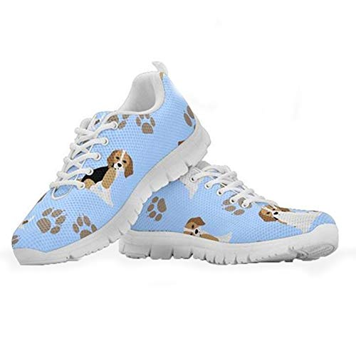 Coloranimal Womens Road Running Jogging Flats Niedliche Tier Beagle Muster Leichte Tennis Sneakers Go Easy Walking Schuhe Schnürschuhe Sneaker Schuhe EU Größe 37