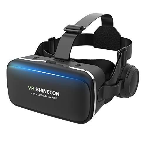 【令和2年VRゴーグル】 VRヘッドセット VRヘッドマウントディスプレイ 高音質ヘッドホン付き ピント調節可 4.7~6.5インチスマホ対応 非球面光学レンズ搭載 近視/遠視適用 120°視野角 放熱性よい 本体操作可 受話でき 眼鏡対応 着け心地よい 4.7~6.5インチiPhone& android などのスマホ対応 日本語説明書付 外出自粛 父の日プレゼント