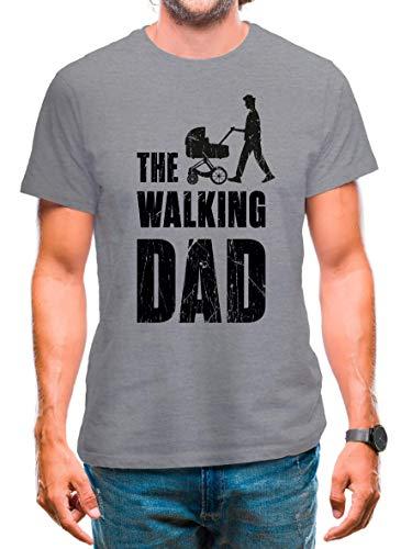 T-Shirt The Walking Dad T-Shirt Papa Geschenk Vatertag Vaterliebe Spruch Shirt The Walking Dad Papa Geschenkideen Mann Kinderwagen (Grau, M)