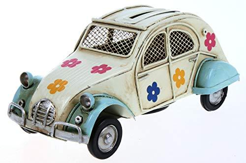 Schick-Design Metallauto geblümt hellblau beige 16 cm als Spardose Auto Metall PKW Oldtimer Ente Nostalgie Citroen 2CV