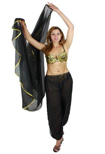 Egypt Bazar Egypt Bazar Bauchtanzschleier Bauchtanz Orientalischer Tanz Schleier in Halbrund-Form - Farbe: (schwarz/gold)
