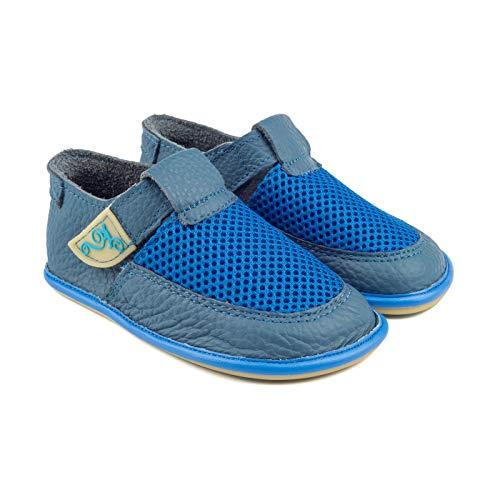 Magical Shoes Kinderschuhe | Barfußschuhe | Lederschuhe für Mädchen & Jungen | Minimalschuhe | Sandalen | Hausschuhe | atmungsaktiv | Laufschuhe | Outdoor | 24 / 150mm, | 004. Bebe - Blau