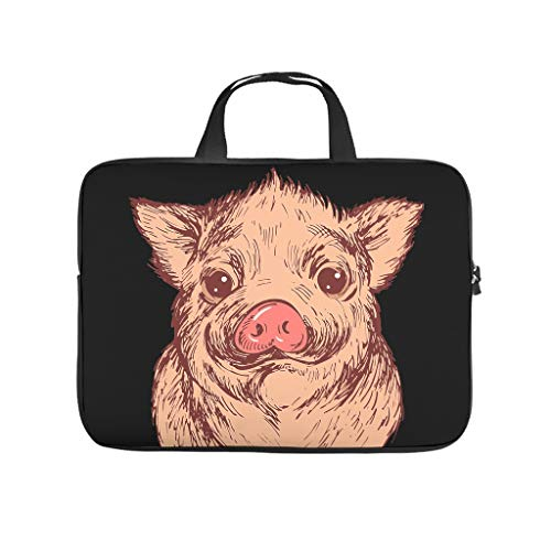 Animal Pig Laptop Case Bag Water Resistant Durable Office Bag for Notebook/MacBook/Ultrabook/Chromebook White 13 Zoll