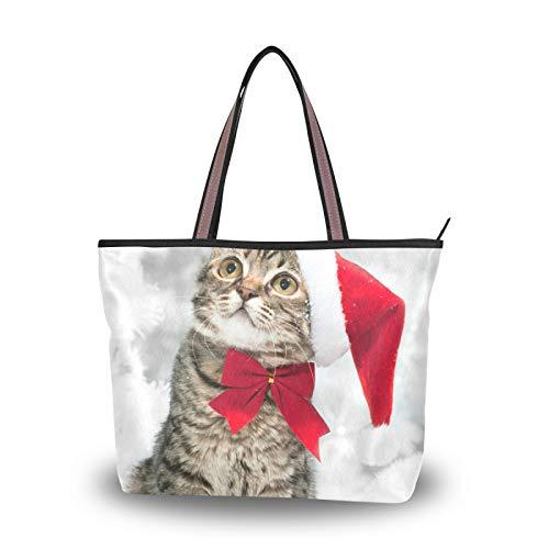 Navidad American Short Hair Cat Correa de peso ligero para madres, mujeres, niñas, señoras, estudiantes, bolso de mano, monedero, bolsos de compras, bolsos de hombro