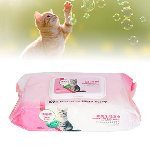 Toallitas desodorizantes para perros, toallitas de limpieza suaves Suministros suaves para mascotas para limpiar(Cat bath towel 100 pumps)