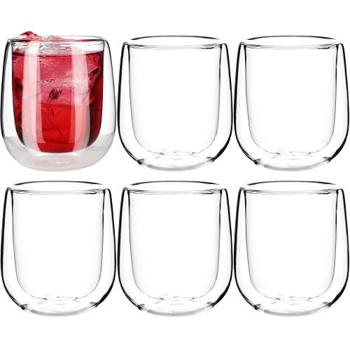 KADAX - Juego de vasos térmicos de doble pared de vidrio de borosilicato, vasos para té, café, capuchino, agua, zumo, té helado, vasos de café, sin mango, 9 x 9 x 10 cm