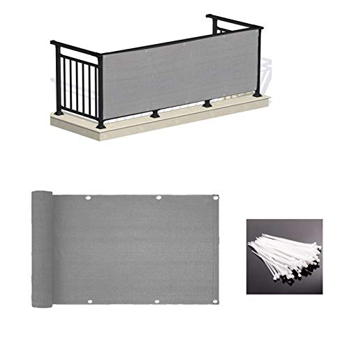 LOVE STORY 3' x 10' Grey Balcony Screen Privacy Fence Cover UV Protection Weather-Resistant 3 FT Height Heavy Duty for Deck, Patio, Backyard Shield 90%