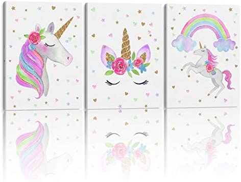 Something Unicorn Stretched Framed Ready to Hang Canvas Wall Art Super Cute Water Color Unicorn product image