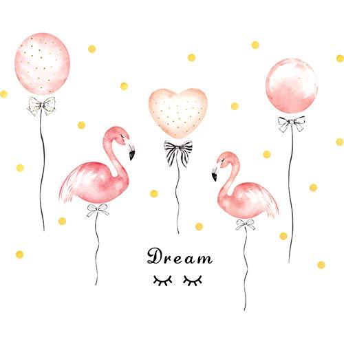 Adhesivos murales 1 x Cxssxling globos flamencos rosa adhesivos murales para dormitorio salón dormitorio niños decoración de pared de PVC 70 x 50 cm