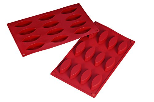 12 Cavity Barchetta Non Stick Silicone Baking Mould, Ideal for Cake, Dessert, Ice Cream, Chocolate, Fondant, Soap etc - by Silicone-Bakeware