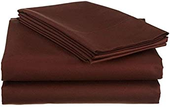 "Mat's Linen Egyptian Cotton 4-Piece Sheet Set Fits Upto 14-15"" Deep Pocket 600 Thread Count Solid # Exotic Bedding Collection King Brown"