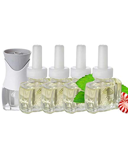 (4 Pack) Scent Fill® Brand 100% Natural Peppermint Refills and (1) Air Wick ® Warmer