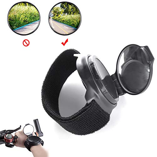 LQY Wrist Wear Bike Mirror, Portable 360° Adjustable Bicycle Wrist Band Safety Rearview Cyclists Mountain Road Riding Cycling Accessories,Black