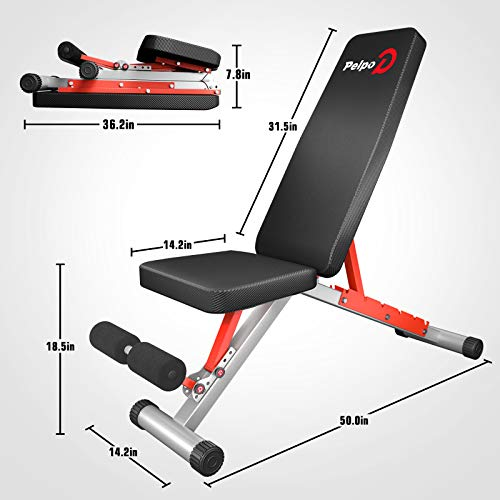 pelpo Adjustable Weight Bench for Strength Training, Foldable Full Body Workout Bench for Home Gym Bench Press, Gray Frame