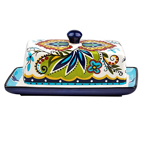 XIAOSAKU Butter Dishes Farmhouse Porcelain Butter Dish with Lid Handle Cover Design Ceramic Covered Butter Holder,Butter Dish for Countertop, Modern Bohemian Butter Dishes with Lid