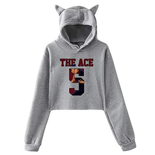 Kuroko No Basket Aomine Daiki The Ace Nr 5 Jersey Classic Women'S Crop Top Sweatshirt Hoodie Cat Ear Pullover Hooded