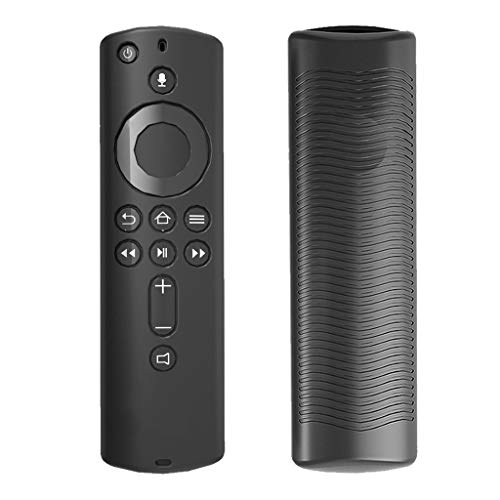 siwetg - Custodia protettiva per Amazon Fire TV Stick 4K con telecomando in silicone morbido e antiurto nero