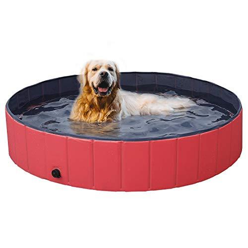 Yaheetech Hundepool Schwimmbad Hundeplanschbecken Hundebad Doggy Pool Haustierpool Katzenpool Wasserbad PVC-rutschfest mit Ablassventil 140x30 cm