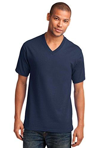 Port & Company Men's 54 oz 100% Cotton V Neck T Shirt L Navy