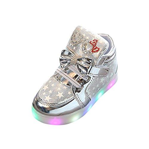 Hirolan Blinkende Kinderschuhe Kleinkind Turnschuhe Star Leuchtend Schuhe Mode Baby Schuhe mit Leuchtsohle Kinder Beiläufig Bunt Lauflernschuhe PU-Leder Mit RGB LED Licht (27, Silber)