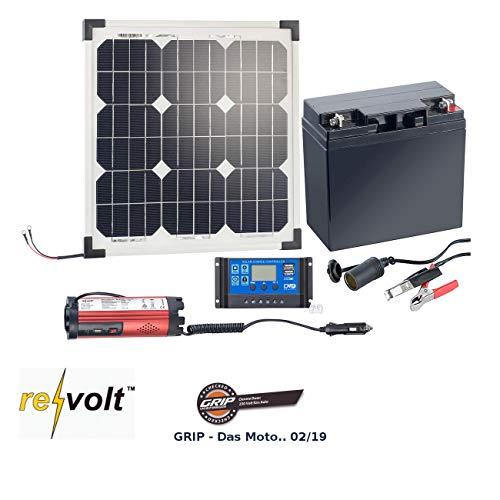 revolt Solaranlage: Solarpanel (20 W) mit Akku, Laderegler und 230-V-Wandler (Solaranlage Set)