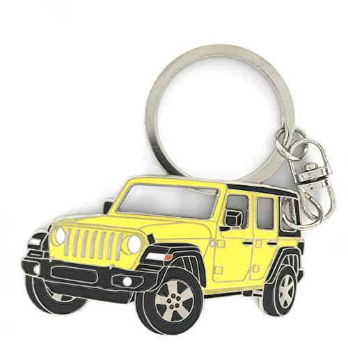 3dcraftter Wrangler JK llavero etiqueta compatible con Jeep para hombre y mujer, hecho de acero llavero, accesorios cadena de parrilla (hellayella)