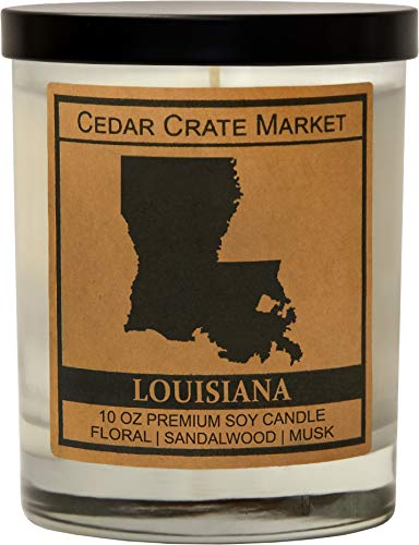 Louisiana Kraft Label Scented Soy Candle, Floral, Sandalwood, Musk, 10 Oz. Glass Jar Candle, Made in The USA, Decorative Candles, Going Away Gifts for Friends, State Candles