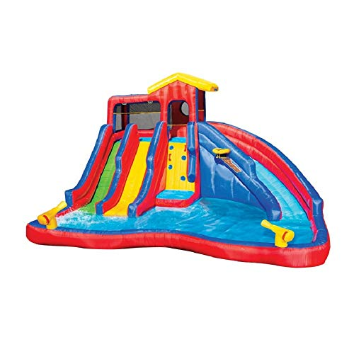 BANZAI Hydro Blast Inflatable Water Slide Outdoor Aquatic Activity Park Play Center with 3 Slides