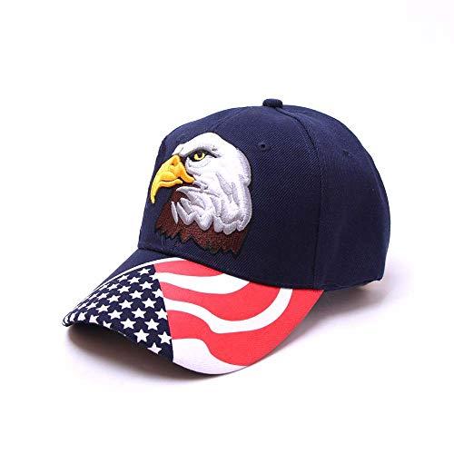 HJG EE.UU. Bandera Americana Gorras Bordados 100% Gorra de béisbol de algodón con la Correa Ajustable Estilo Polo Sombrero del papá Gorros,F