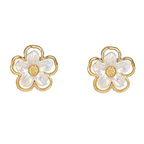 GLJYG Elegantes pendientes de flores de concha hueca de aleación con colgante de flor con forma de pétalos para fiestas, bodas, regalo para adolescentes