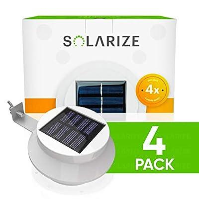 Brightology - Solarize Solar Gutter Lights, Outdoor, Set of 4, Solar Fence Lights, Warm Light, for Patio, Garden, Wall, Yard, Attic, or Walkaway