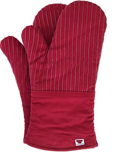 Big Red House Topflappen, Ofenhandschuhe mit der Hitzebeständigkeit von Silikon und der Flexibilität von Baumwolle, bis 248 Grad C hitzebeständiges Paar (Rot)