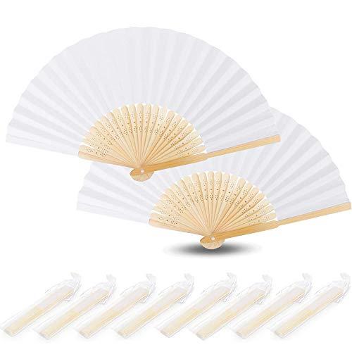 Nsiwem Ventaglio Pieghevole Bianco 20 Pezzi Ventagli Matrimonio Pieghevole ventaglio Mano Ventaglio di Stoffa in Bambu e Tessuto per Nozze Festa Matrimonio Partito Favori Decorazione