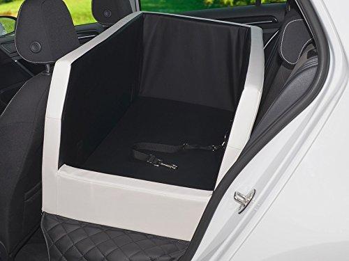 PadsForAll Auto Hundebett, Rücksitz Schutzdecke, Autoschondecke, auch in visco elastisch   schwarz-Weiss