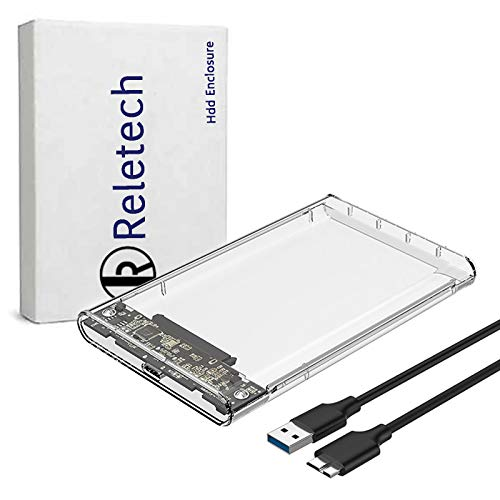 "Reletech 2.5"" Hard Drive Enclosure USB 3.0 to SATA III External HDD/SSD Case Support UASP Function Compatible with WD Seagate Toshiba Samsung Sabrent PS4 Xbox Router"