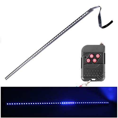 PengSF buitenverlichting 5050 20W 48 LED RGB Car Truck Remote Colorful Ride LED Strobe Scanner Flash Light Strip, DC 12V kabellengte: 130cm (blauw licht) auto Blue Light