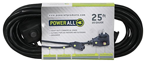 Power All - Extension Cord with Circuit Breaker - 125V   25 ft.   16 Gauge - Moisture Resistant, Flexible, and Durable for Outdoor / Indoor Use