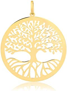 14k Yellow Gold Tree of Life Round Pendant for Necklace 15 mm