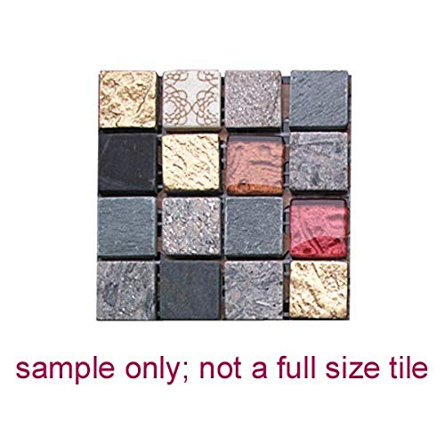 Intrend Tile NS006-A-sample Natural Stone and Glass Mini Square Mosaic Blend Tile Sheet, Sample, Royal Gold Red-Gray, Black, Tan and Gold with Red Accent