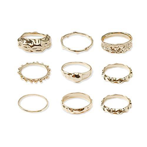 forbestest 9pc / set anillos de la forma geométrica del color de oro de la aleación de diseño simple giro anillos de la mano joyerías